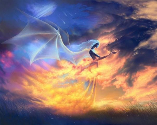 ...Дракон направит свой полет над тусклой кромкой серых вод. Скоро осень придёт, тихий сон принесёт. Дракон ей верный слуга, и к седым берегам Он тебя понесёт... - Уля, ты чего это Какие