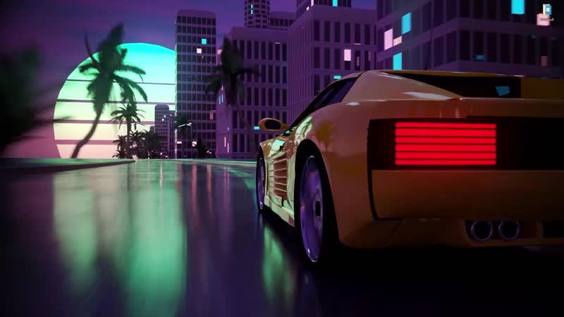 Желтая машина мчит в Майами 2K живые обои для Wallpaper Engine