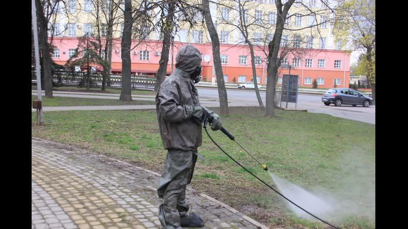 Курские спасатели подключились к дезинфекции городских пространств