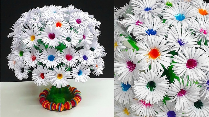 DIY Paper flowers Guldasta made with Empty Plastic bottles Paper ka Guldasta Banane ka Tarika