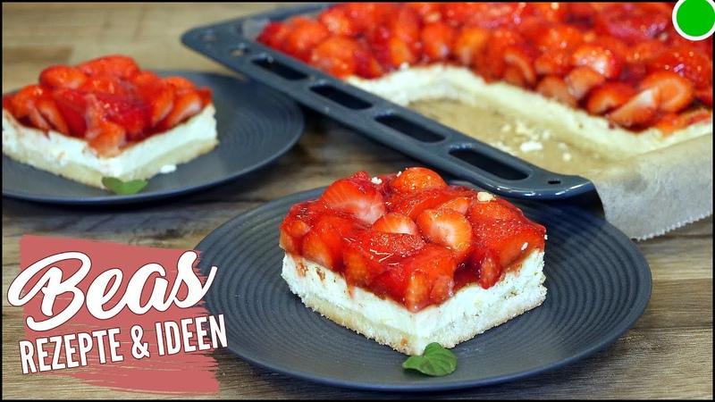 Erdbeer Käsekuchen mit Boden vom Blech