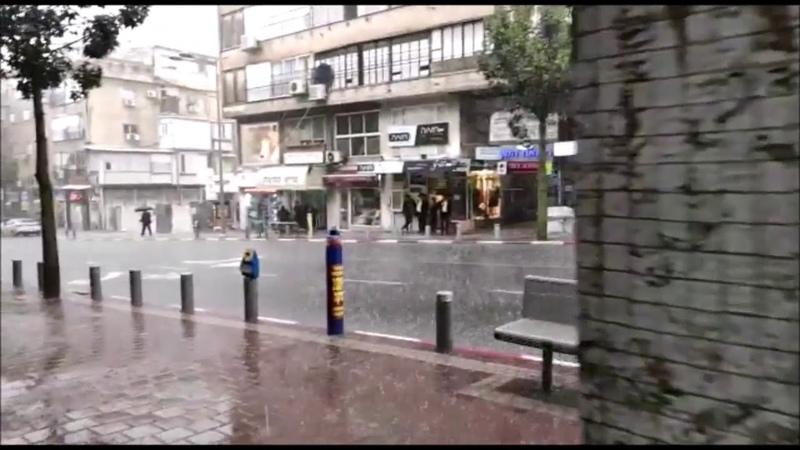Heavy Rain In Bnei Brak Sunday Morning