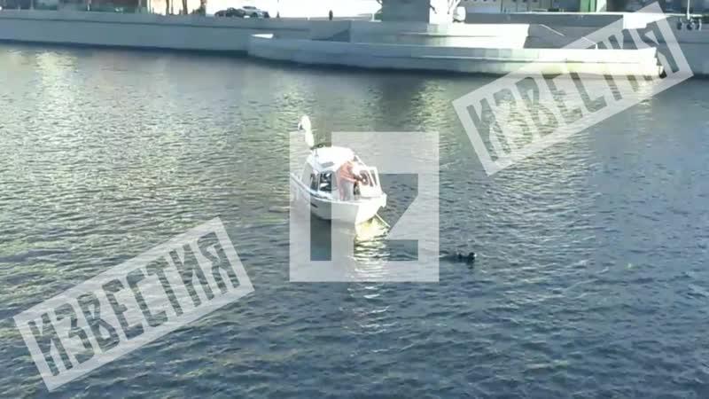 На Пречистенской набережной возле Храма Христа Спасителя машина пробила ограждение и упала в реку