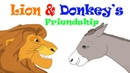 The Lion Donkey's Friendship - English Story For Kids   Moral Bedtime Stories For Kids In English