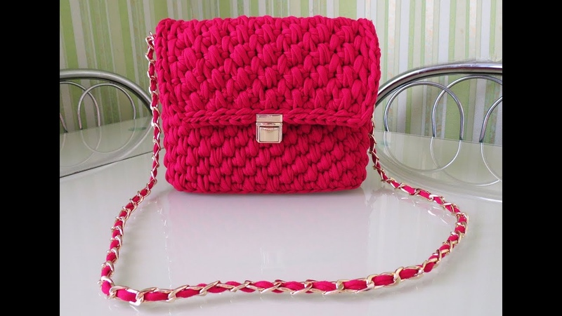 Вяжем стильную сумочку из трикотажной пряжи Кnit stylish handbag English subtitles
