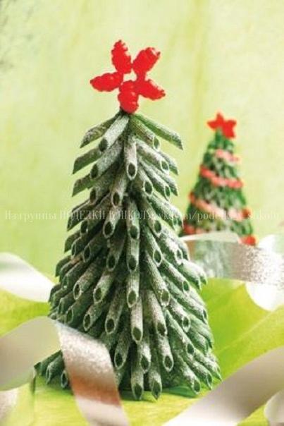 ЕЛОЧКА ИЗ МАКАРОН макароны пеннекартон зеленого цветастеплерножницыклейкраскижидкий снег в баллончикеИнструкция :Чертим полукруг на картоне это основа нашей елки. Вырезаем аккуратно заготовку по