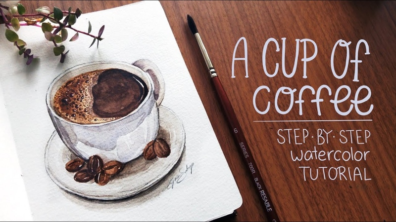 Cup of Coffee Watercolor Tutorial New Ko fi Page