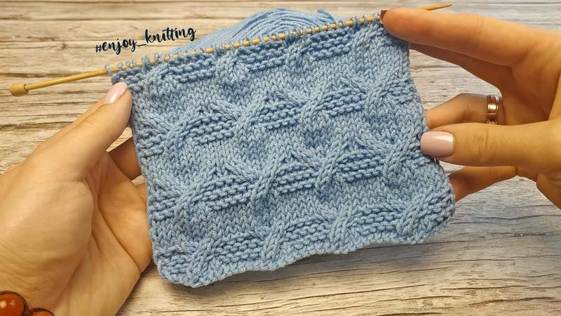 ОРИГИНАЛЬНЫЙ Узор Спицами Косы с Платочной вязкой Aran Cable knitting stitch pattern