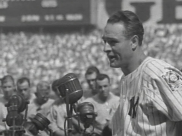Gehrig delivers his famous speech at Yankee Stadium