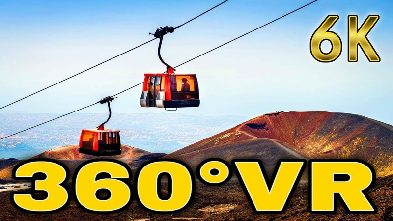 360° VR Revealed Hidden Path Of Mount Etna Cable Car Travel Sicily Italy 6K 3D Virtual Reality HD 4K