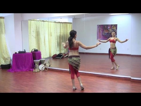 StepFlix Belly dance, level 1, basic step 19 horizontal figure 8s Egyptian Turkish