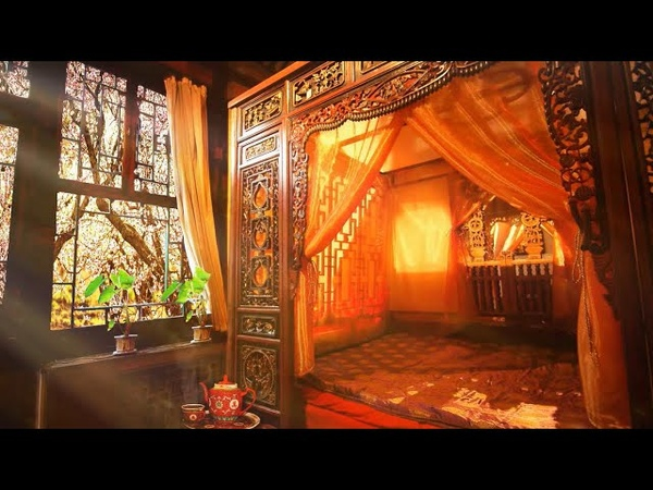Ambience ASMR Chinese Bedroom with Cherry Blossoms Late Qing 19th Century 4 Hours