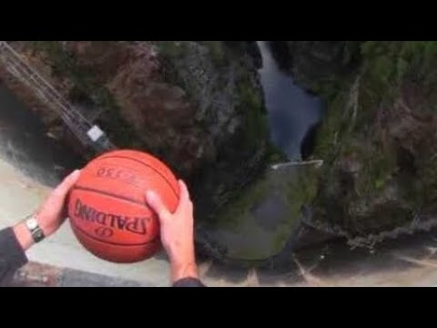 What Happens When a Spinning Basketball is Thrown Off a Dam