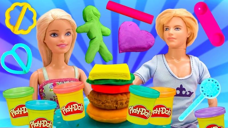 Сборник видео про куклы Барби и Кен играют свадьбу Игры в готовку из Плей До лепка из пластилина