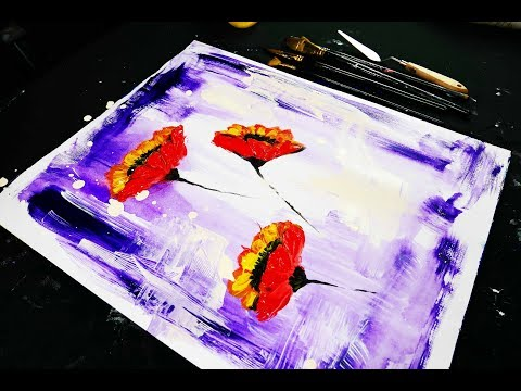Painting abstract red flowers on purple background using brush and pallet knife