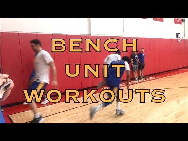 Bench unit workouts incl Zaza, Quinn, Jordan Bell, Damian Jones sprinting Cook vs asst 1-on-1