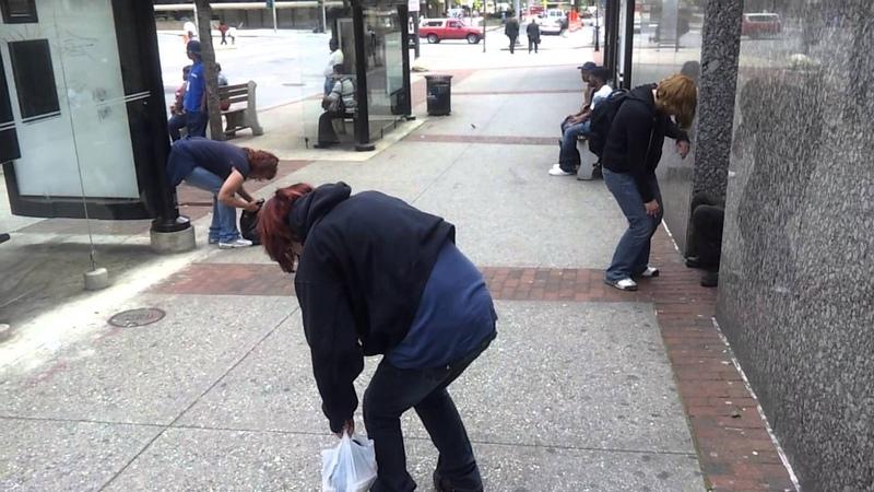 Three Demon possessed in Baltimore.Drug addicts nodding.