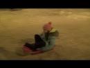 Катаю Зарину на ледянках вокруг ёлки в парке Тукая 01.01.2018 (Нижнекамск)