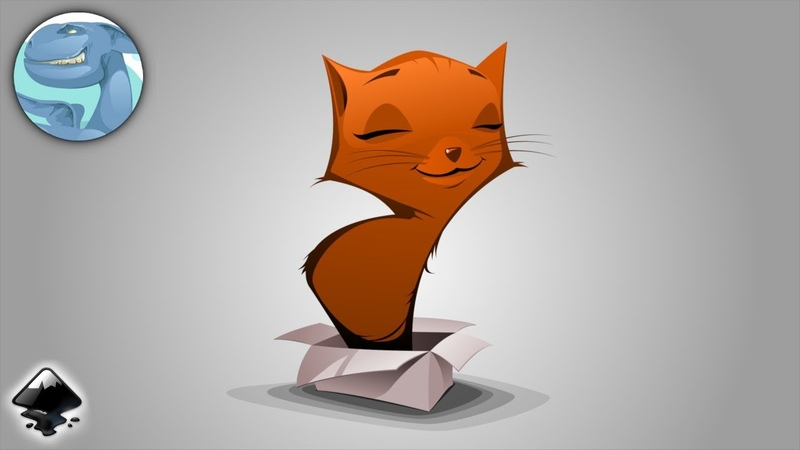Red cat in the box. Inkscape vector graphics.