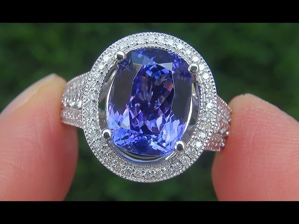 Certified Jewelry FLAWLESS Natural Tanzanite Diamond 14k White Gold Ring - A141678