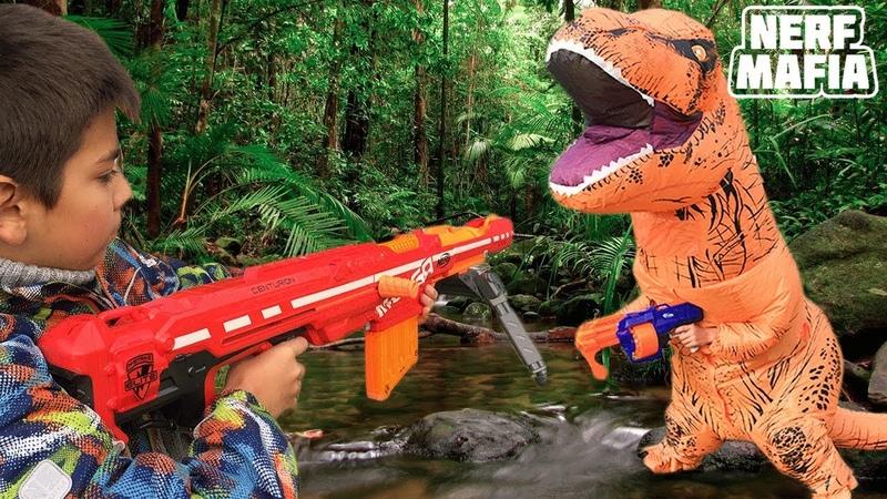 Нёрф Челлендж Охота На Динозавров || Nerf Challenge Dinosaur hunting