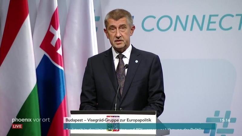 Anti-EU-Treffen der Visegrad Gruppe Pressekonferenz 21-06-18 - Orban - Kurz - Polen - Tschechien