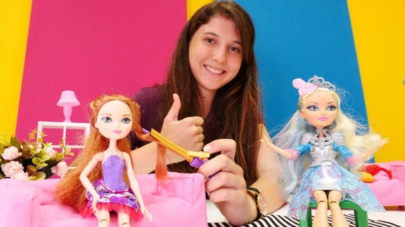 Barbie ile oyun. Ever After High Hollynin saçını yapıyoruz!