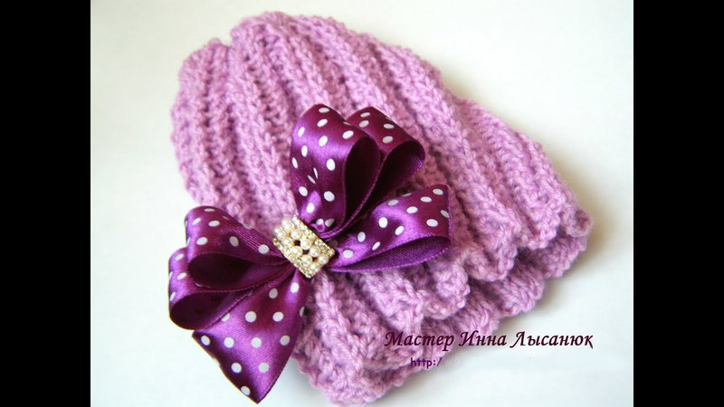 Ажурная весенняя шапочка спицами для девочки 2 9 месяцев