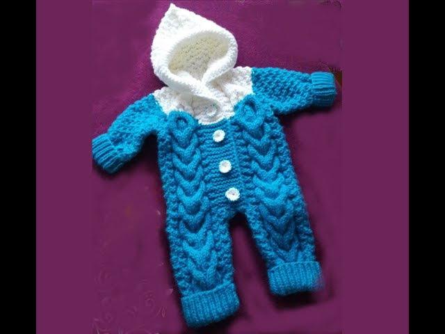 КОМБИНЕЗОН С КАПЮШОНОМ ДЕТСКИЙ С РЕГЛАНОМ СНИЗУ.Вязание спицами Crochet And Knitting