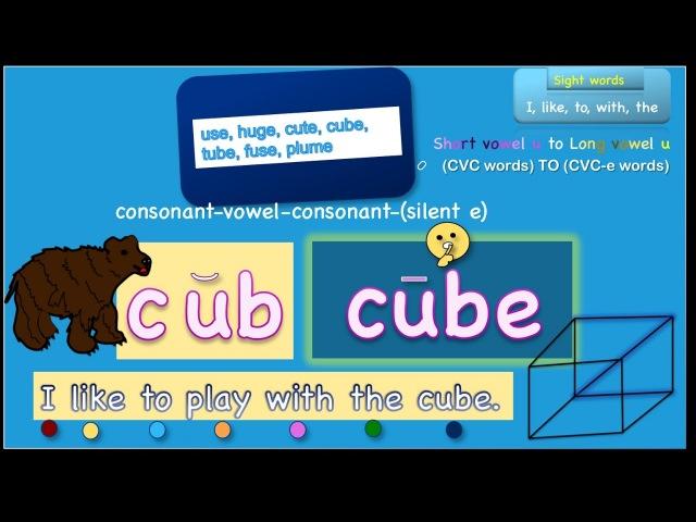 Phonics long vowel u |cvc to cvc-e words |silent e|-use,-uge,-ube,-ume|