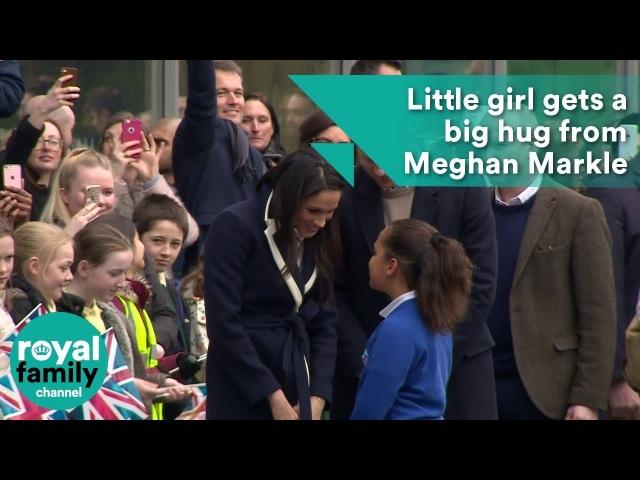 Little girl gets a big hug from Meghan Markle in Birmingham