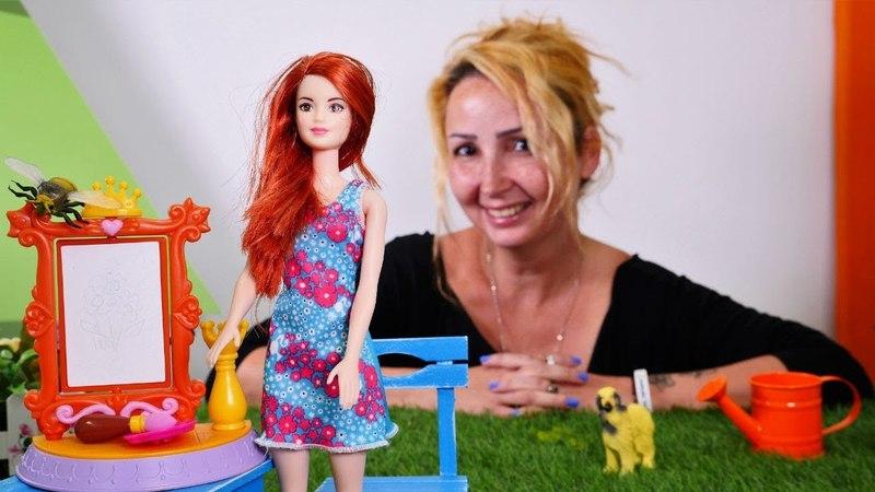 Barbie ressam oldu. Özgenın kafesinde resim yapıyoruz