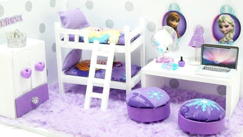 DIY Miniature Dollhouse - FROZEN Anna Elsa Bedroom (NOT A KIT!)