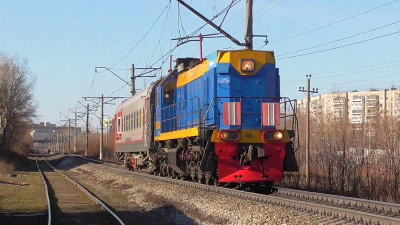 ТЭМ18ДМ-497 с вагоном дефектоскопом и приветливой бригадой