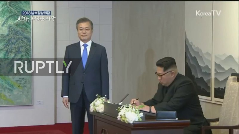 North/South Korea: Kim Jong-un and Moon Jae-in launch summit at round table