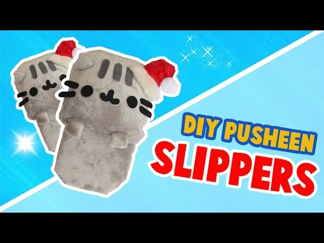 DIY PUSHEEN SLIPPERS MADE WITH A SPONGE NO SEW TUTORIAL