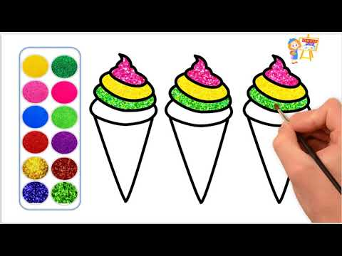 Glitter Ice Cream Coloring Pages For Kids | How To Draw Ice Cream With Glitter Colors - Lovely Kids