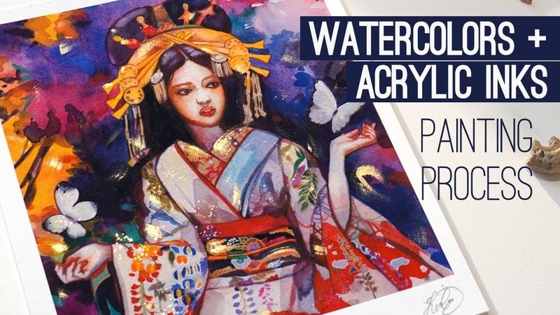 GEISHA Watercolor Painting Process (with narration!)