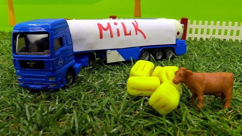Vehículos de servicio. En la granja. Coches y vehículos de juguete infantiles.
