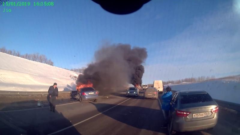 авария с пожаром на трассе Р-298 (нижнедевицкий район)15,01,2019