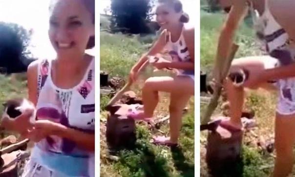 Это Катя... сейчас она будет зарубать маленького котенка.. В сети появилось ужасное видео на котором 15-ти летняя девушка положила на полено маленького котёнка и с истеричным смехом paзpyбuлa