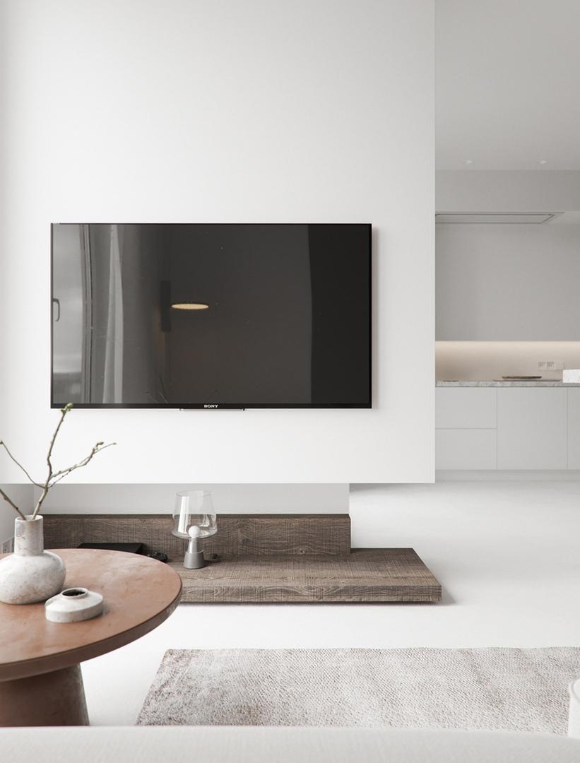 Проект студийной квартиры 44 м с деревянным спальным боксом.