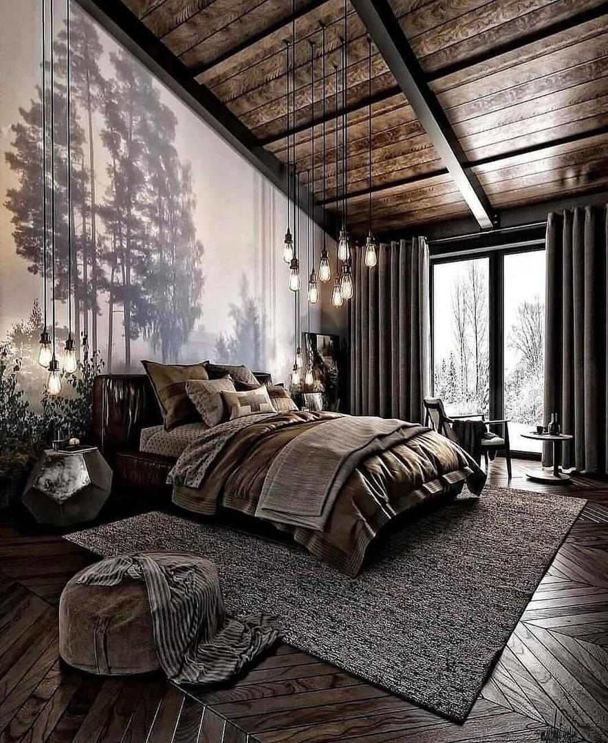 Гармоничная спальня в загородном доме - красота