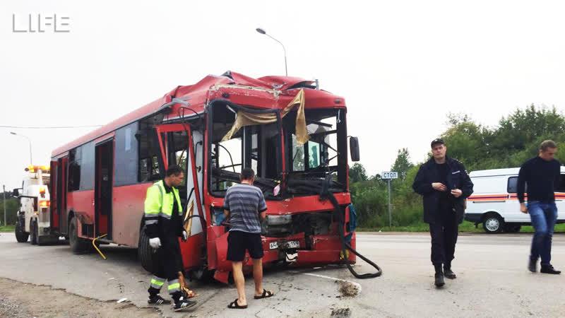 Момент ДТП с автобусом в Перми