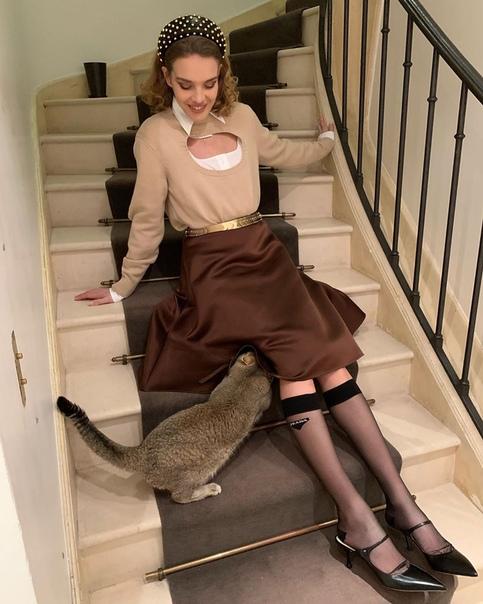 Котик залез Наталье Водяновой под юбку.