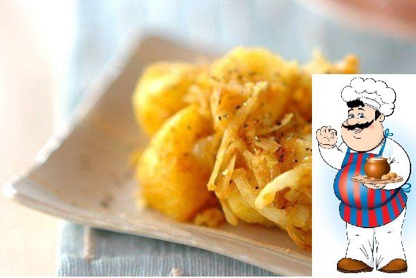 Жареный картофель карри Ингредиенты: Картофель 2 шт. Масло растительное 30 мл Карри ½ ч. л. Соль 2 г Перец черный молотый 2 г Лук ½ шт. Чеснок 1 зубчик Приготовление: 1. Картофель вымыть,