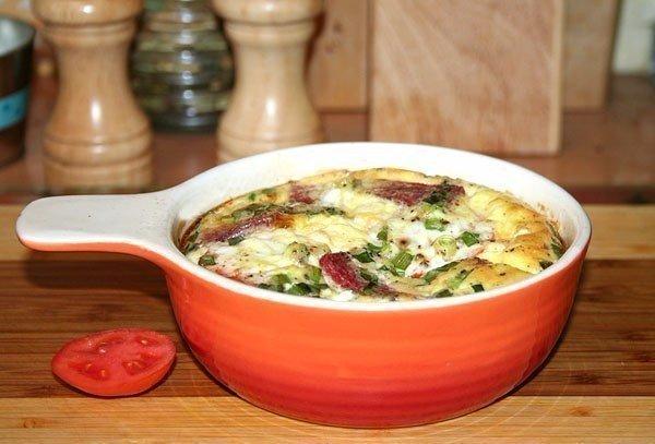 Пышный омлет с помидорами, салями и зелёным луком Ещё один вариант вкусного завтрака. Омлет получается пышным, как в детском садике.Ингредиенты:- 3 яйца- 170 мл молока- кусочек салями- маленький