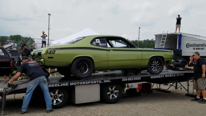 Twin Turbo Hemi 340 Duster on Dyno Over 1000hp | Mopar Nationals