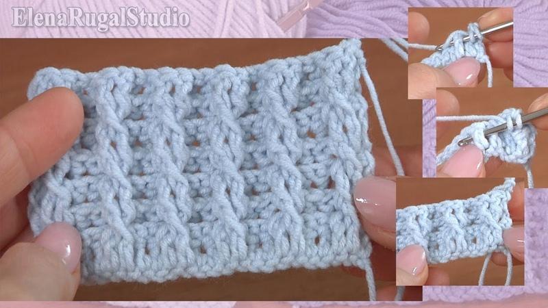 Эластичный простой узор резинка из косичек крючком Урок 11 Подробный мастер класс