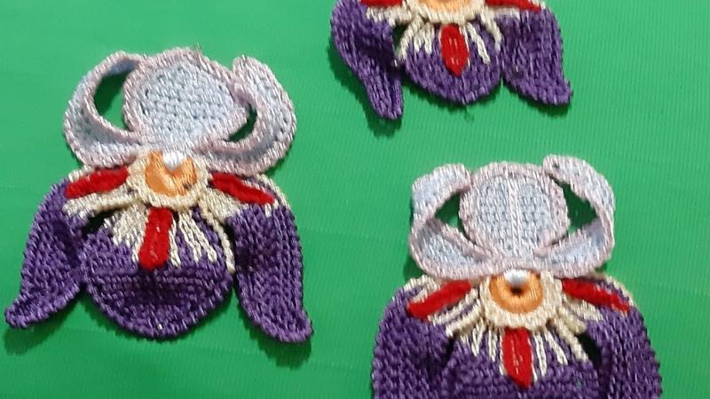 Вязание крючком Техника ирландское кружево Урок 3 цветок ириса как мотива для декора